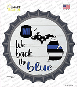 Michigan Back The Blue Wholesale Novelty Bottle Cap Sticker Decal