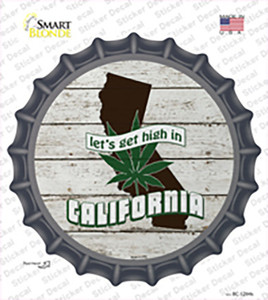 Lets Get High In California Wholesale Novelty Bottle Cap Sticker Decal