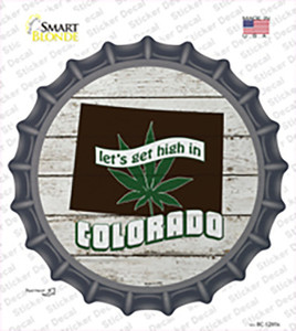 Lets Get High In Colorado Wholesale Novelty Bottle Cap Sticker Decal