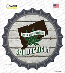Lets Get High In Connecticut Wholesale Novelty Bottle Cap Sticker Decal