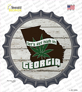 Lets Get High In Georgia Wholesale Novelty Bottle Cap Sticker Decal