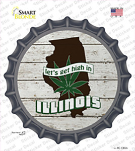 Lets Get High In Illinois Wholesale Novelty Bottle Cap Sticker Decal