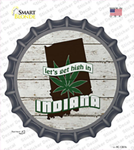 Lets Get High In Indiana Wholesale Novelty Bottle Cap Sticker Decal