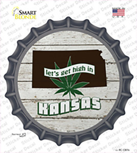 Lets Get High In Kansas Wholesale Novelty Bottle Cap Sticker Decal