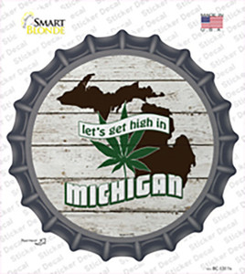 Lets Get High In Michigan Wholesale Novelty Bottle Cap Sticker Decal