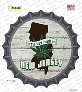 Lets Get High In New Jersey Wholesale Novelty Bottle Cap Sticker Decal