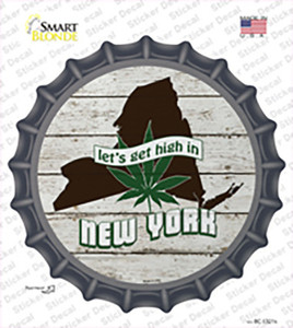 Lets Get High In New York Wholesale Novelty Bottle Cap Sticker Decal