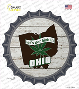 Lets Get High In Ohio Wholesale Novelty Bottle Cap Sticker Decal