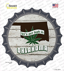 Lets Get High In Oklahoma Wholesale Novelty Bottle Cap Sticker Decal