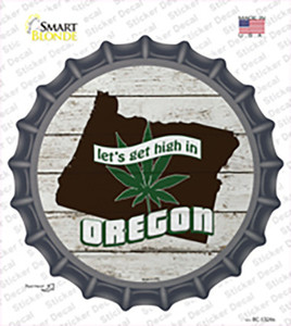 Lets Get High In Oregon Wholesale Novelty Bottle Cap Sticker Decal