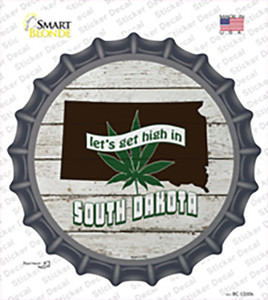 Lets Get High In South Dakota Wholesale Novelty Bottle Cap Sticker Decal