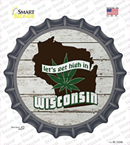 Lets Get High In Wisconsin Wholesale Novelty Bottle Cap Sticker Decal