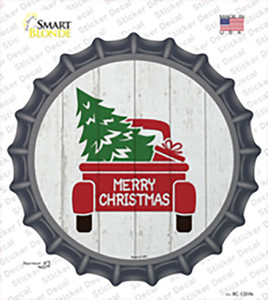 Christmas Tree In Truck Bed Wholesale Novelty Bottle Cap Sticker Decal