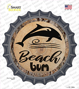 Beach Bum Dolphin Wholesale Novelty Bottle Cap Sticker Decal