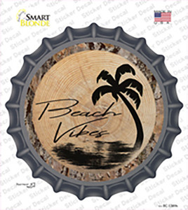Beach Vibes Wood Wholesale Novelty Bottle Cap Sticker Decal