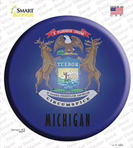 Michigan State Flag Wholesale Novelty Circle Sticker Decal