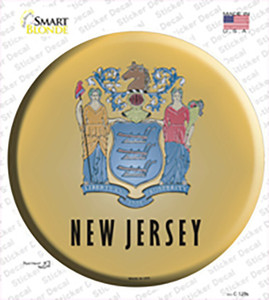 New Jersey State Flag Wholesale Novelty Circle Sticker Decal