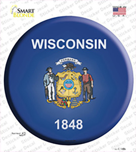 Wisconsin State Flag Wholesale Novelty Circle Sticker Decal