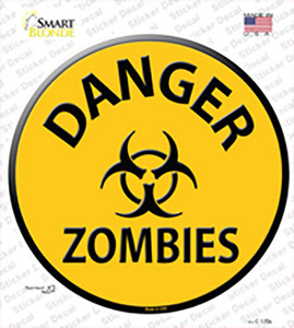 Danger Zombies Wholesale Novelty Circle Sticker Decal