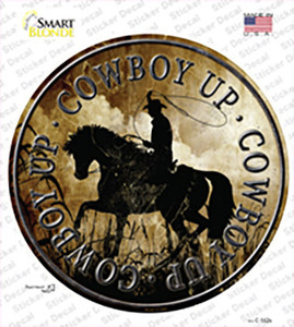 Cowboy Up Wholesale Novelty Circle Sticker Decal
