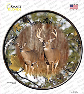Deer On Camo Wholesale Novelty Circle Sticker Decal