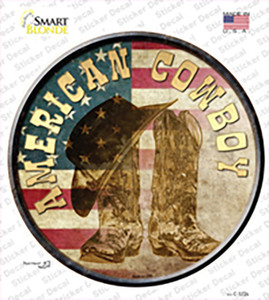 American Cowboy Wholesale Novelty Circle Sticker Decal