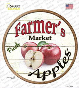 Farmers Market Apples Wholesale Novelty Circle Sticker Decal