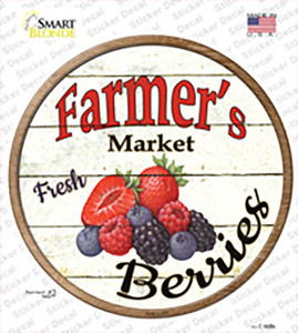 Farmers Market Berries Wholesale Novelty Circle Sticker Decal
