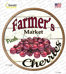 Farmers Market Cherries Wholesale Novelty Circle Sticker Decal