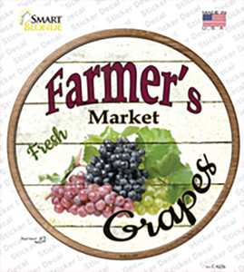 Farmers Market Grapes Wholesale Novelty Circle Sticker Decal
