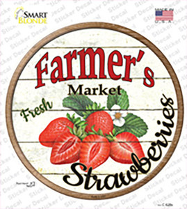 Farmers Market Strawberries Wholesale Novelty Circle Sticker Decal