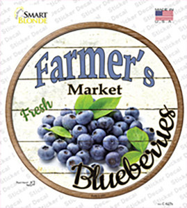 Farmers Market Blueberries Wholesale Novelty Circle Sticker Decal