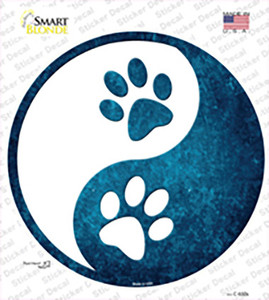 Yin And Yang With Paws Wholesale Novelty Circle Sticker Decal