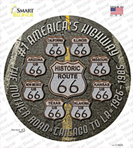 Route 66 Black Top Wholesale Novelty Circle Sticker Decal