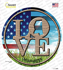 Love Mississippi Wholesale Novelty Circle Sticker Decal