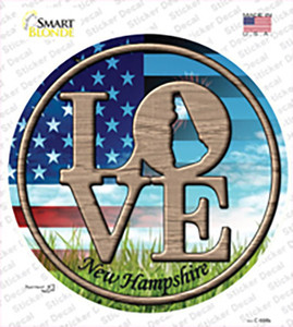 Love New Hampshire Wholesale Novelty Circle Sticker Decal