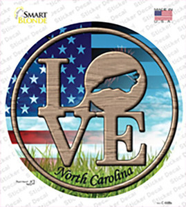 Love North Carolina Wholesale Novelty Circle Sticker Decal