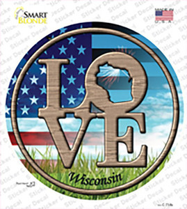 Love Wisconsin Wholesale Novelty Circle Sticker Decal