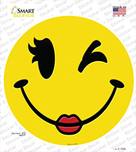 Girl Wink Smile Wholesale Novelty Circle Sticker Decal