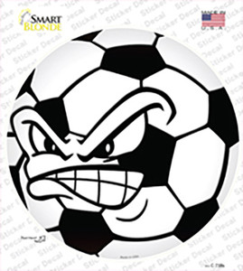 Angry Soccer Ball Wholesale Novelty Circle Sticker Decal