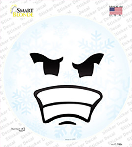 Angry Face Snowflake Wholesale Novelty Circle Sticker Decal