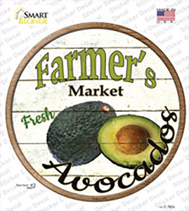 Farmers Market Avocados Wholesale Novelty Circle Sticker Decal