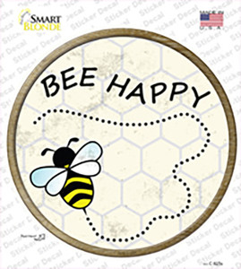 Bee Happy Wholesale Novelty Circle Sticker Decal