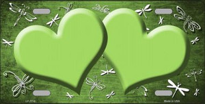 Lime Green White Dragonfly Hearts Print Oil Rubbed Wholesale Metal Novelty License Plate