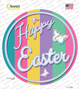 Happy Easter with Butterflies Wholesale Novelty Circle Sticker Decal
