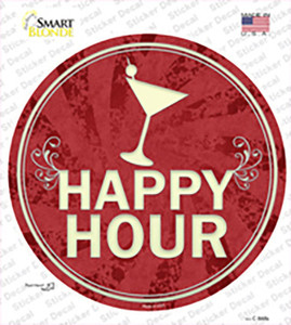 Happy Hour Wholesale Novelty Circle Sticker Decal