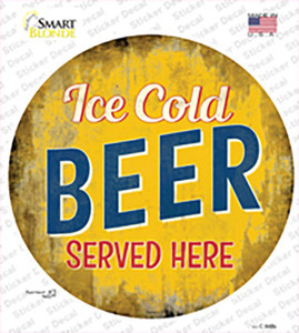 Ice Cold Beer Served Here Wholesale Novelty Circle Sticker Decal