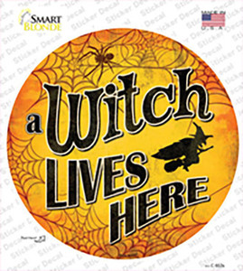 A Witch Lives Here Wholesale Novelty Circle Sticker Decal