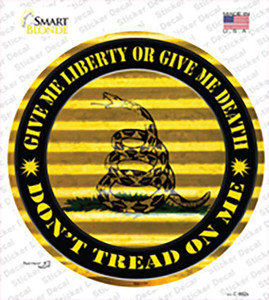 Dont Tread On Me Yellow Wholesale Novelty Circle Sticker Decal