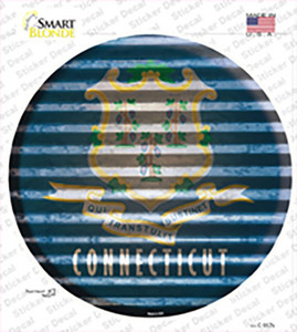 Connecticut Flag Corrugated Wholesale Novelty Circle Sticker Decal